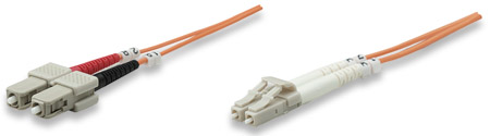 Fiber Optic Patch Cable, Duplex, Multimode - , LC/SC, 50/125 µm, OM2, 2.0 m (7.0 ft.), Orange