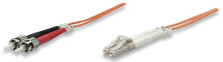Fiber Optic Patch Cable, Duplex, Multimode - , LC/ST, 50/125 µm, OM2, 5.0 m (14.0 ft.), Orange
