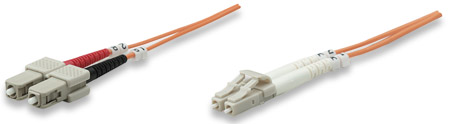 Fiber Optic Patch Cable, Duplex, Multimode - , LC/SC, 62.5/125 µm, OM1, 1.0 m (3.0 ft.), Orange