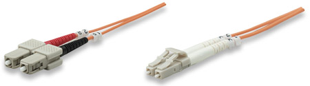 Fiber Optic Patch Cable, Duplex, Multimode - , LC/SC, 62.5/125 µm, OM1, 2.0 m (7.0 ft.), Orange