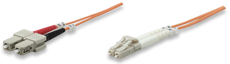 Fiber Optic Patch Cable, Duplex, Multimode - , LC/SC, 62.5/125 µm, OM1, 5.0 m (14.0 ft.), Orange