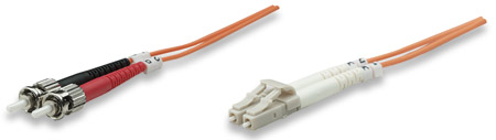 Fiber Optic Patch Cable, Duplex, Multimode - , LC/ST, 62.5/125 µm, OM1, 1.0 m (3.0 ft.), Orange
