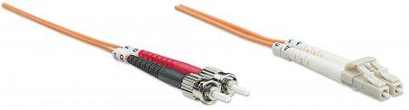 Glasfaser LWL-Anschlusskabel, Duplex, Multimode INTELLINET LC/ST, 62,5/125 µm, OM1, 10 m, orange