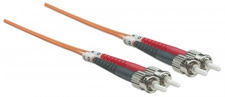 Glasfaser LWL-Anschlusskabel, Duplex, Multimode INTELLINET ST/ST, 50/125 µm, OM2, 20 m, orange
