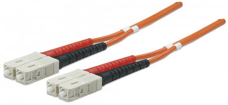 Glasfaser LWL-Anschlusskabel, Duplex, Multimode INTELLINET SC/SC, 50/125 µ, OM2, 20 m, orange