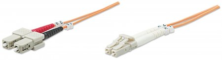 Glasfaser LWL-Anschlusskabel, Duplex, Multimode INTELLINET LC/SC, 50/125 µ, OM2, 20 m, orange