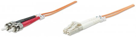Glasfaser LWL-Anschlusskabel, Duplex, Multimode INTELLINET LC/ST, 62,5/125 µ, OM1, 20 m, orange