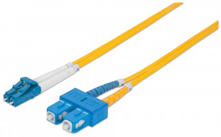 Fiber Optic Patch Cable, Duplex, Single-Mode - , LC/SC, 9/125 µm, OS2, 1.0 m (3.0 ft.), Yellow