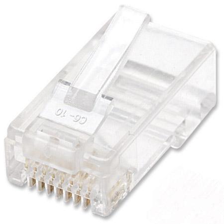 100er-Pack Cat6 RJ45-Modularstecker INTELLINET UTP, 2-Punkt-Aderkontaktierung, für Litzendraht, 100 Stecker pro Becher