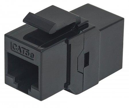 Cat5e Inline-Kupplung, Keystone-Modul 8P8C Buchse auf 8P8C Buchse, UTP, schwarz INTELLINET