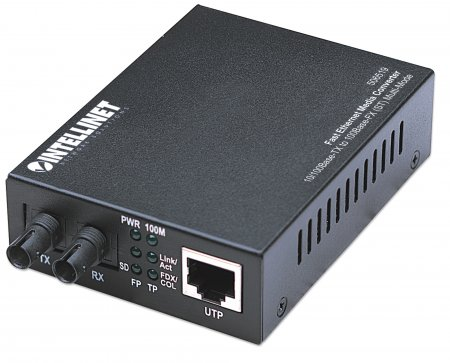 Fast Ethernet Media Converter - , 10/100Base-TX to 100Base-FX (ST) Multi-Mode, 2 km (1.24 mi)