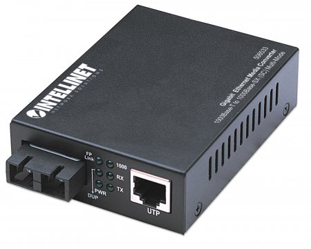 Gigabit Ethernet Medienkonverter INTELLINET 1000Base-T auf 1000Base-SX (SC) Multimode, 550 m