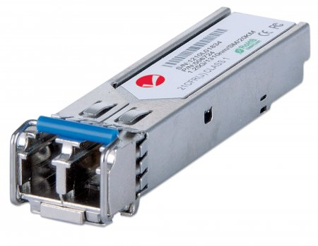 Gigabit SFP Mini-GBIC Transceiver für LWL-Kabel INTELLINET 1000Base-LX (LC) Singlemode-Port, 20 km, universell kompatibel zu allen Switch-Marken