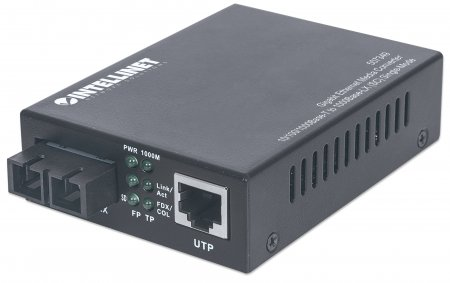 Gigabit Ethernet Singlemode Medienkonverter INTELLINET 10/100/1000Base-T auf 1000Base-LX (SC) Single Mode, 20 km