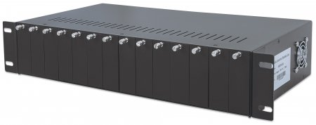 "14-Slot Media Converter Chassis - , Includes redundant power supply, 19"" rackmountable, 2 U"