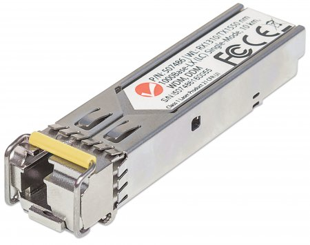 Gigabit SFP Mini-GBIC Transceiver WDM bidirektional für LWL-Kabel INTELLINET 1000Base-LX (LC) Singlemode-Port, 10 km, WDM (RX1310/TX1550)