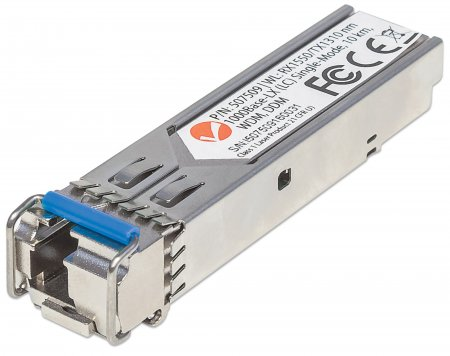 Gigabit SFP Mini-GBIC Transceiver WDM bidirektional für LWL-Kabel 1000Base-LX (LC) Singlemode-Port, 10 km, WDM (RX1550/TX1310) INTELLINET