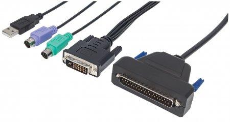 1-Port DVI-Kabel für KVM-Konsole INTELLINET Zur Verwendung mit Intellinet Rackmount 19'' LCD-DVI-Konsole 508117, enthält PS/2-, USB- und DVI-Stecker