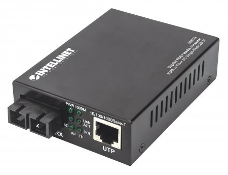 Gigabit PoE+ Medienkonverter INTELLINET 1000Base-T RJ45-Port auf (SC) - 508209