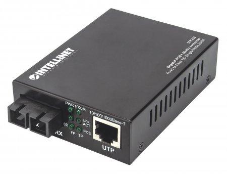 Gigabit PoE+ Medienkonverter INTELLINET 1000Base-T RJ45-Port auf 1000Base-LX (SC) Singlemode, 20 km, PoE+ Injektor