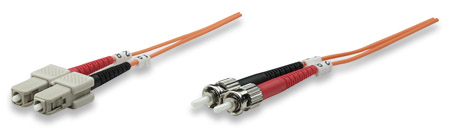 Fiber Optic Patch Cable, Duplex, Multimode - , ST/SC, 62.5/125 µm, OM1, 3.0 m (10.0 ft.), Orange