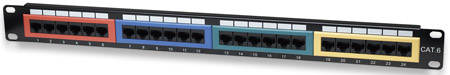 Cat6 Color-Coded Patch Panel - , 24-Port, UTP, 1U
