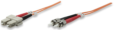 Fiber Optic Patch Cable, Duplex, Multimode - , ST/SC, 62.5/125 µm, OM1, 1.0 m (3.0 ft.), Orange