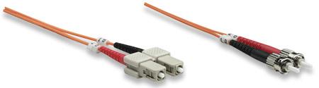Glasfaser LWL-Anschlusskabel, Duplex, Multimode INTELLINET ST/SC, 62,5/125 µm, OM1, 10 m, orange