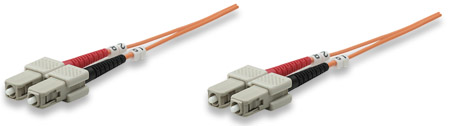 Glasfaser LWL-Anschlusskabel, Duplex, Multimode INTELLINET SC/SC, 62,5/125 µ, OM1, 2 m, orange