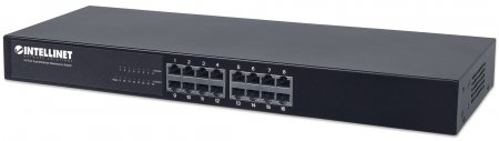 "16-Port Fast Ethernet Switch - , 16-Port RJ45 10/100 Mbps, 19"" Rackmount, Metal"