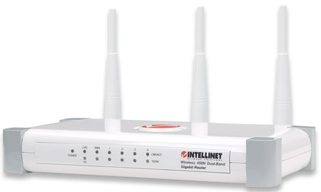 Wireless 450N Dual-Band Gigabit Router - Ultimate Wireless Performance for Business and Home, 450 Mbps Wireless 802.11a/b/g/n, 2.4 + 5 GHz, 3T3R MIMO, QoS, 4-Port Gigabit LAN Switch