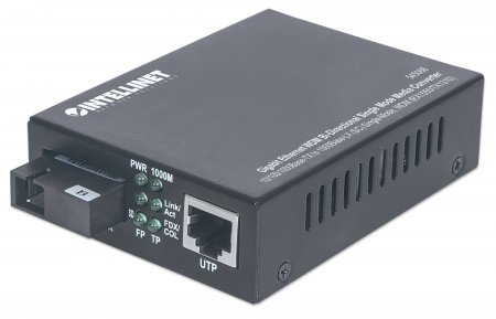 Gigabit Ethernet WDM Bi-Directional Single Mode Media Converter - , 10/100/1000Base-TX to 1000Base-LX (SC) Single-Mode, 20 km (12.4 mi.), WDM (RX1550/TX1310)