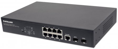 "8-Port Gigabit Ethernet PoE+ Web-Managed Switch with 2 SFP Ports - Intellinet Network Solutions 8-Port PoE Web-Managed Desktop Gigabit Switch with 2 SFP Slots, 8 x PoE ports, IEEE 802.3at/af Power-over-Ethernet (PoE+/PoE), 2 x SFP, Endspan, Desktop, 19"" Rackmount"
