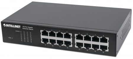 16-Port Gigabit Ethernet Switch INTELLINET 16-Port RJ45 10/100/1000 Mbps, IEEE 802.3az Energy Efficient Ethernet, Desktop, 19'' Rackmount