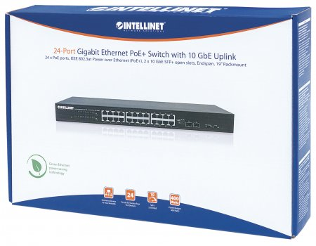 24-Port Gigabit Ethernet PoE+ Switch with 10 GbE Uplink