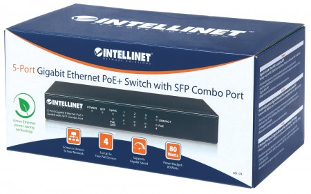 5-Port Gigabit Ethernet PoE+ Switch with SFP Combo Port