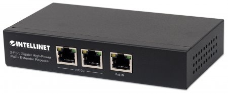 2-Port Gigabit High-Power PoE+ Extender Repeater - Extends the range of PoE by an additional 100 meters (328 ft.), one PoE input, two PoE output ports, IEEE 802.3at/af Compliant Range Extender, 100 m (328 ft.) Additional Range, 2 PSE Ports, Metal