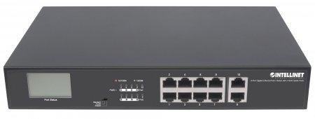 8-Port Gigabit Ethernet PoE+ Switch mit 2 RJ45-Uplink-Ports und LCD-Anzeige INTELLINET 8 x PoE-Ports, LCD-Anzeige, IEEE 802.3at/af Power over Ethernet (PoE+/PoE), 130 W, Endspan, 19