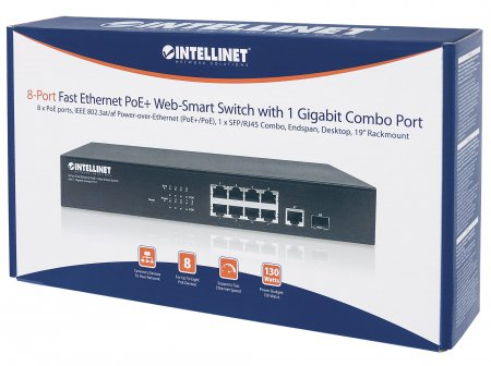 8-Port Fast Ethernet PoE+ Web-Smart Switch with 1 Gigabit Combo Port