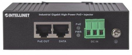 Gigabit High-Power PoE+ Industrie-Injektor INTELLINET 1 x 30 Watt-Port, IEEE 802.3at/af Power over Ethernet (PoE+/PoE), Metallgehäuse