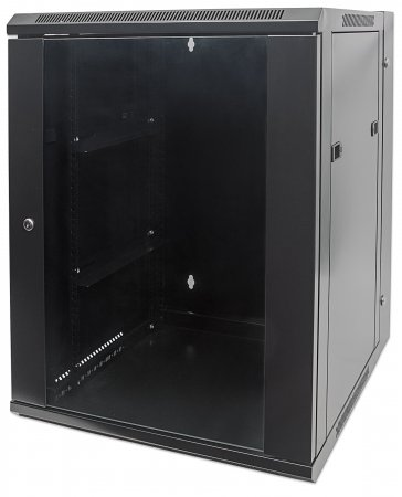 "19"" Double Section Wallmount Cabinet - , 15U,  Assembled, Black"