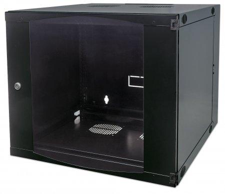 19'' Wandverteiler mit Schwenkrahmen INTELLINET 6 HE, 327 (H) x 540 (B) x 450 (T) mm, Flatpack, schwarz
