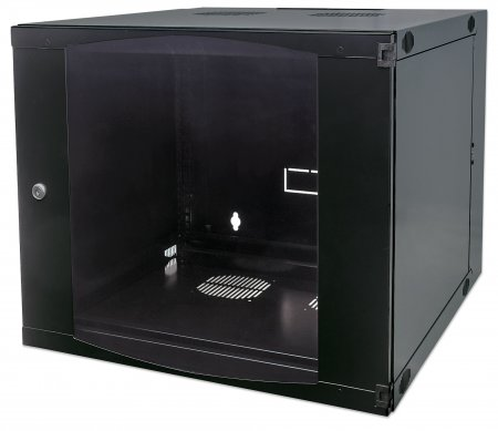 "19"" Double Section Wallmount Cabinet  - , 12U, Flatpack, Black, 600 mm (23.62"") depth"