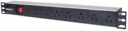 "19"" 1U Rackmount 8-Way Power Strip - US Type - , With On/Off Switch and Overload Protection, 3 m (10 ft.) Power Cord"