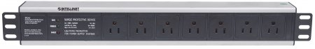 "19"" 1.5U Rackmount 7-Output Power Distribution Unit (PDU)"