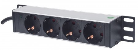 10'' 4-fach Steckdosenleiste, Schutzkontakt INTELLINET Power-LED, ohne Überspannungsschutz, 1,8 m Stromkabel, 1 HE