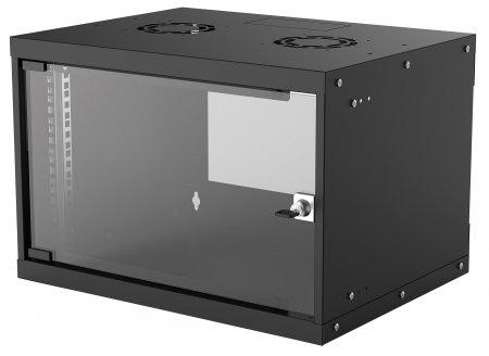 19'' Wandverteiler, Basic Line INTELLINET 6 HE, 353 (H) x 540 (B) x 400 (T) mm, Flatpack, Schutzklasse IP20, schwarz