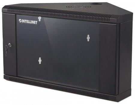 "19"" Corner Wallmount Cabinet - , 6U, Assembled, 430 mm (16.93 in.) Depth, Black"