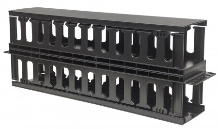 "19"" Cable Management Panel - , 19"" Rackmount Cable Manager, 2U, Double-Sided with Covers, Black"
