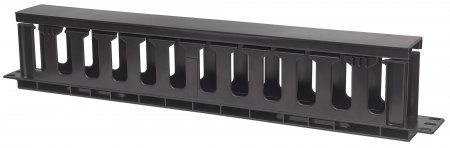 "19"" Cable Management Panel - , 19"" Rackmount Cable Manager, 1U, with Cover, Black"
